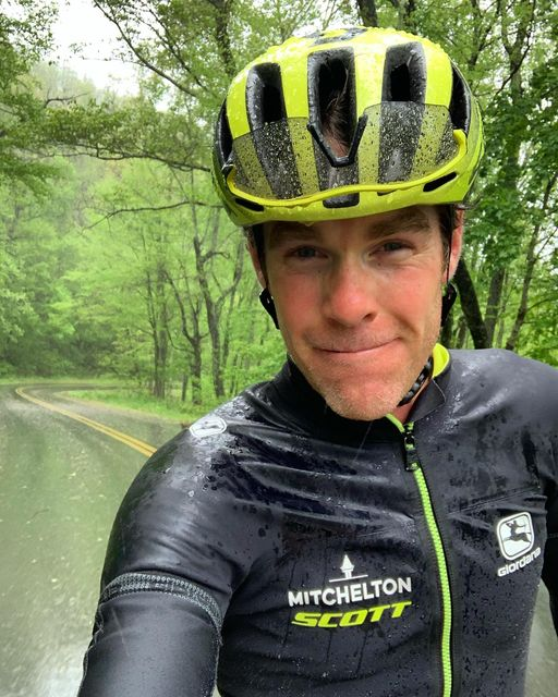 Brent Bookwalter training in the rain