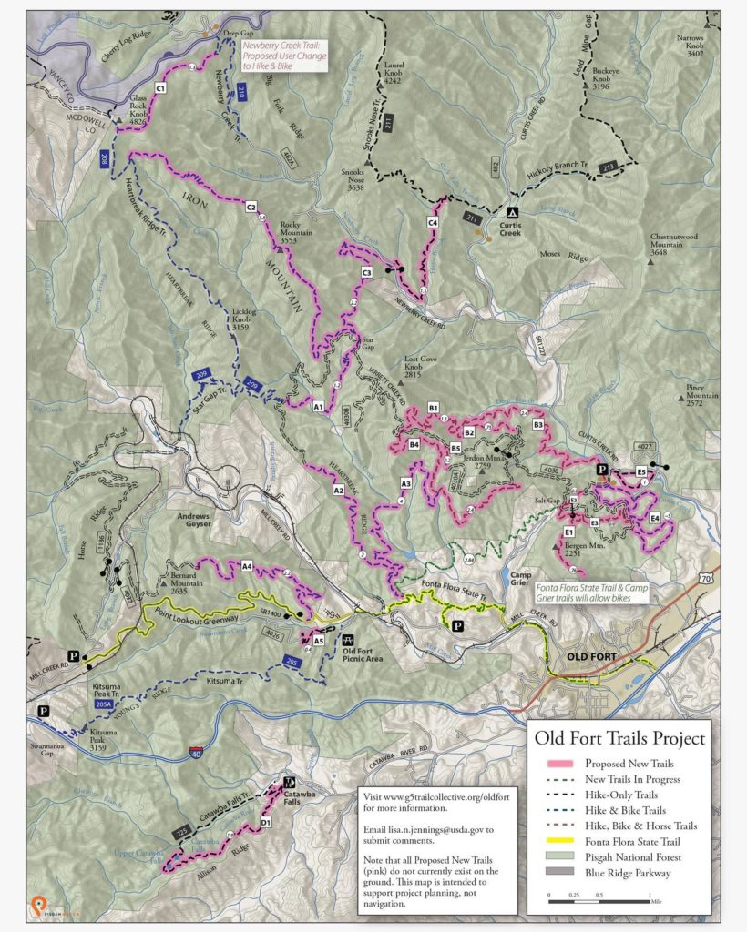 Old Fort Pisgah Forest Trail Network Map